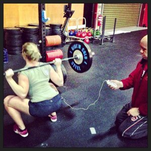 Kat Dalecki doing 55kg squats for peak EMG measurements